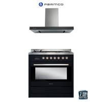 PARMCO 90CM BLK STOVE BUNDLE *NEW*