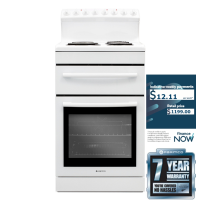PARMCO 54CM WHITE STOVE W/RADIANT-COIL C/TOP *NEW*