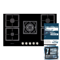 PARMCO 90CM BLK-GLASS GAS HOB *NEW* 7YR WTY!