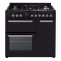 PARMCO 90CM BLK GAS-ELECTRIC STOVE *NEW*