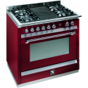 STEEL ASCOT 90CM RED GAS-ELECTRIC RANGE *NEW*